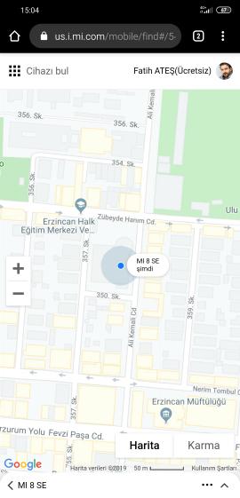 Xiaomi Kayıp Telefon Bulma Harita Görünümü