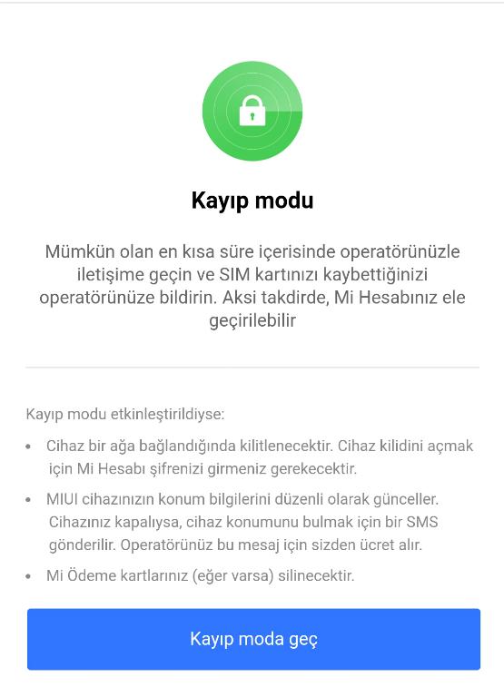 Xiaomi Kayıp Telefon Bulma Kayıp Modu