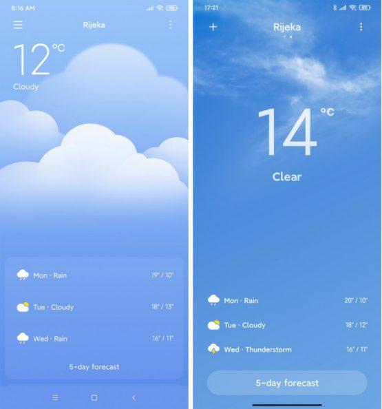 MIUI 11 ve MIUI 12 Hava Durumu Ekranı Farklılıkları