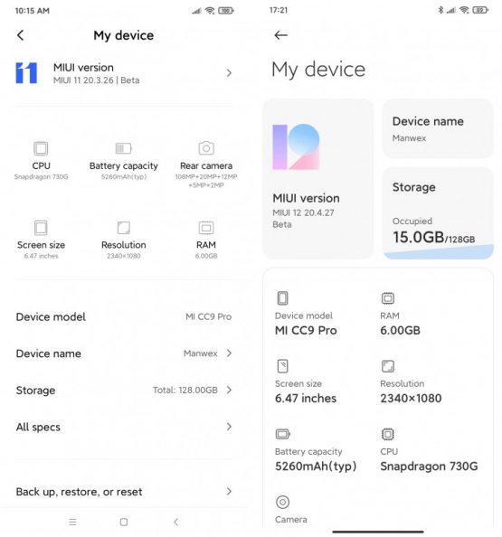 MIUI 11 vs MIUI 12 Telefon Hakkında